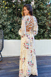 cream floral open back maxi