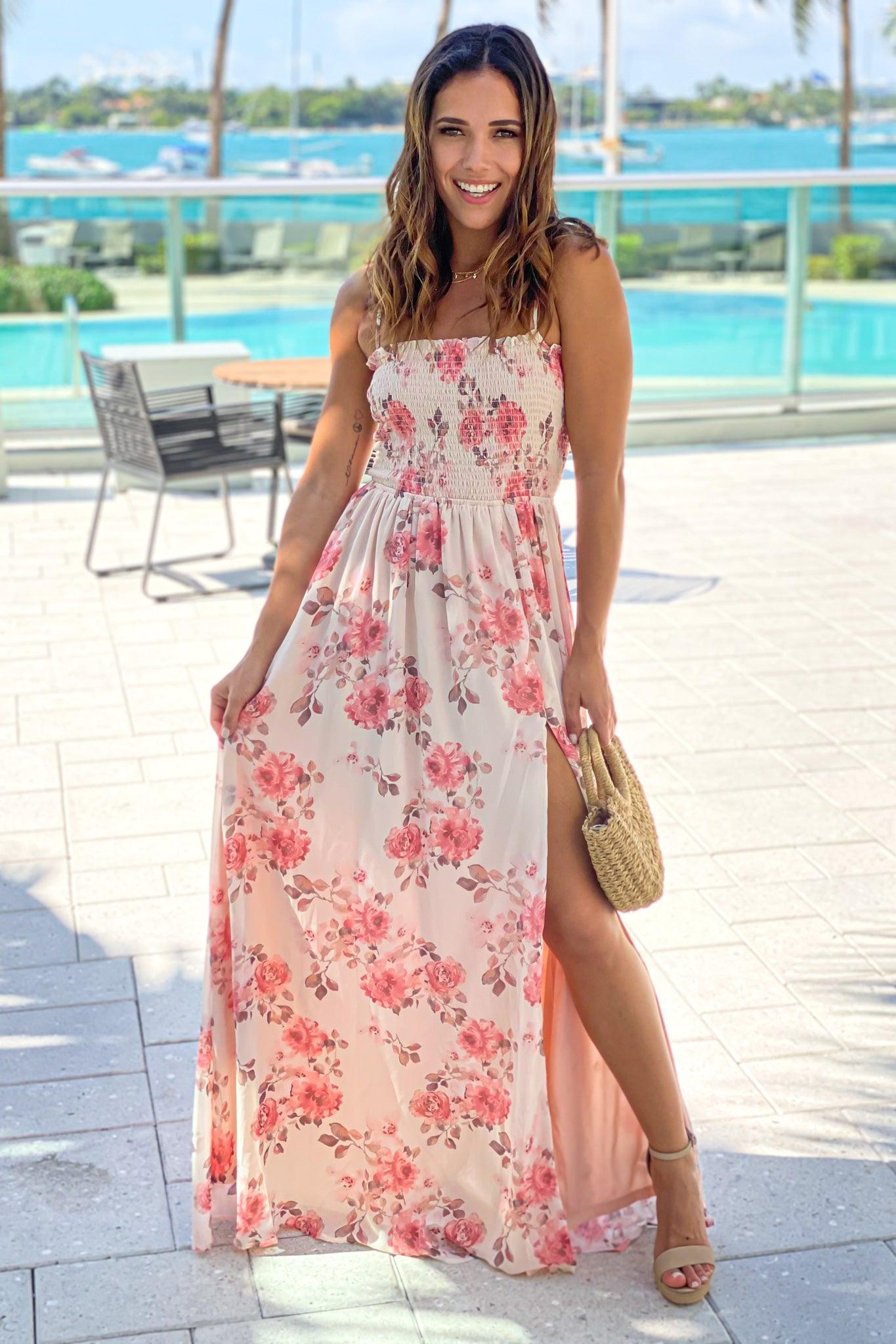 cream floral smocked top maxi dress with slit