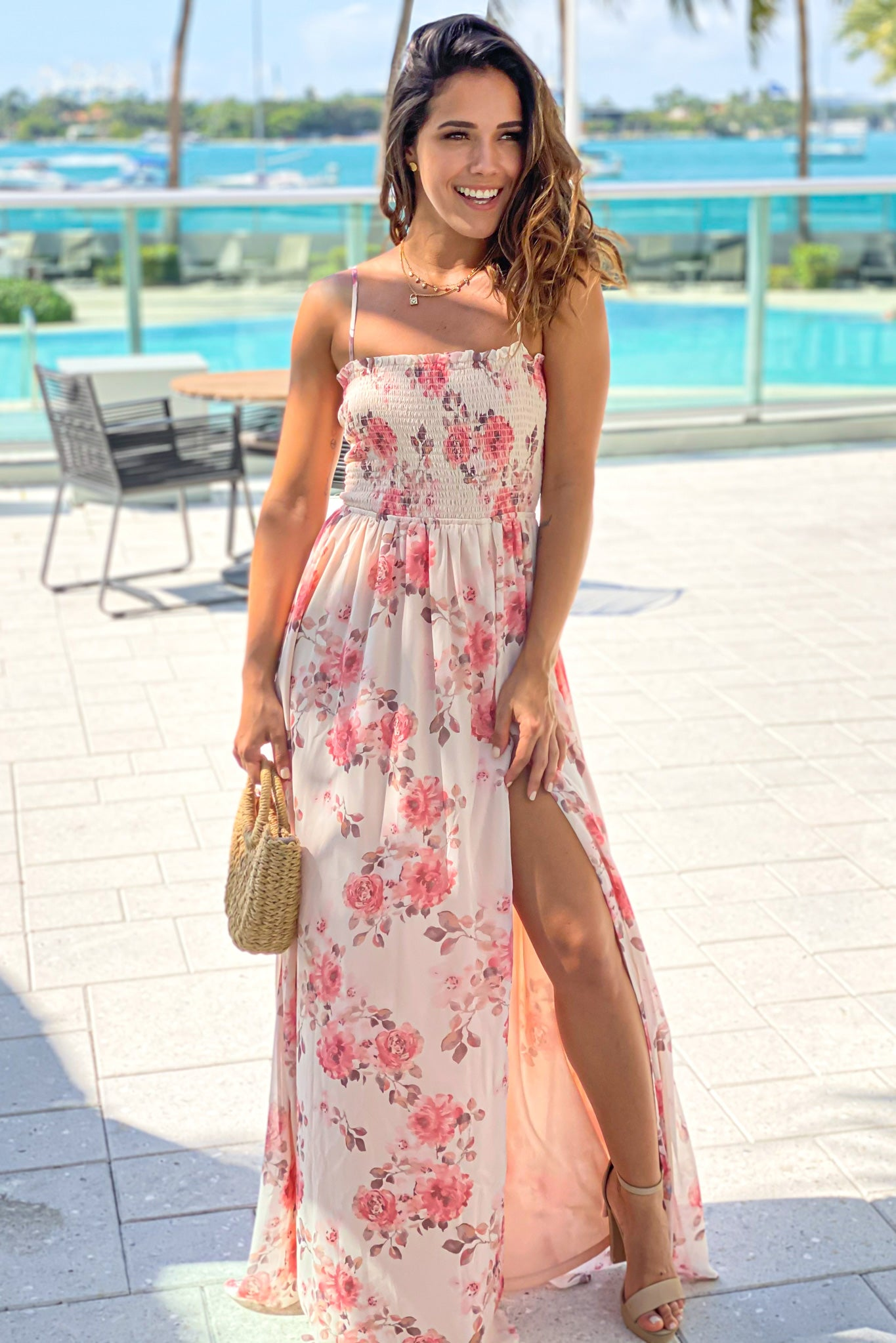 cream floral summer maxi dress