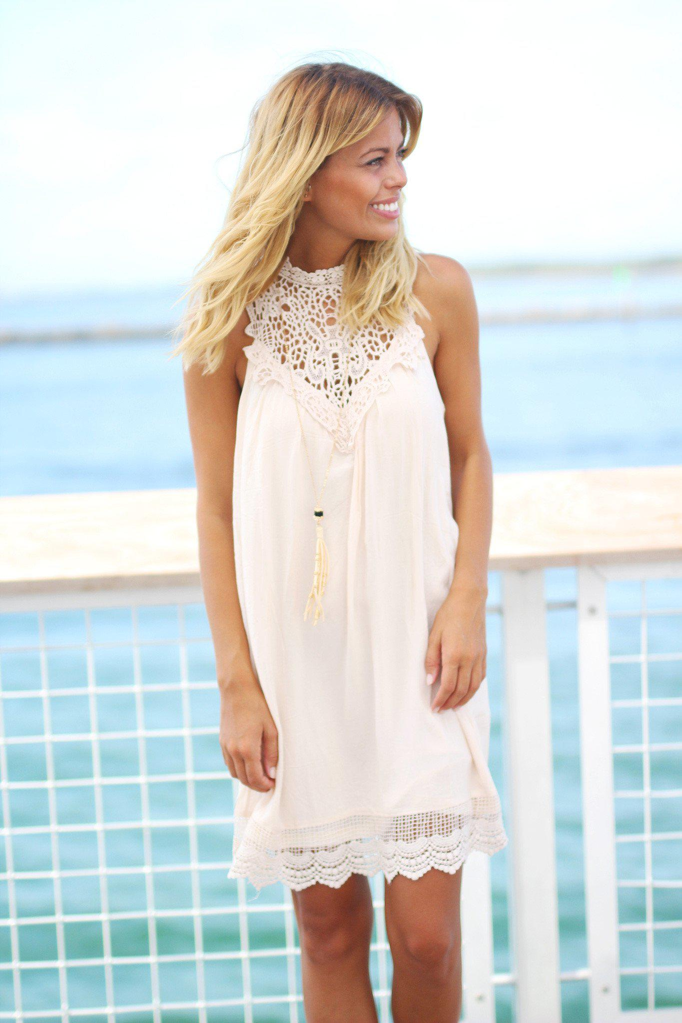 Natural Crochet Short Dress