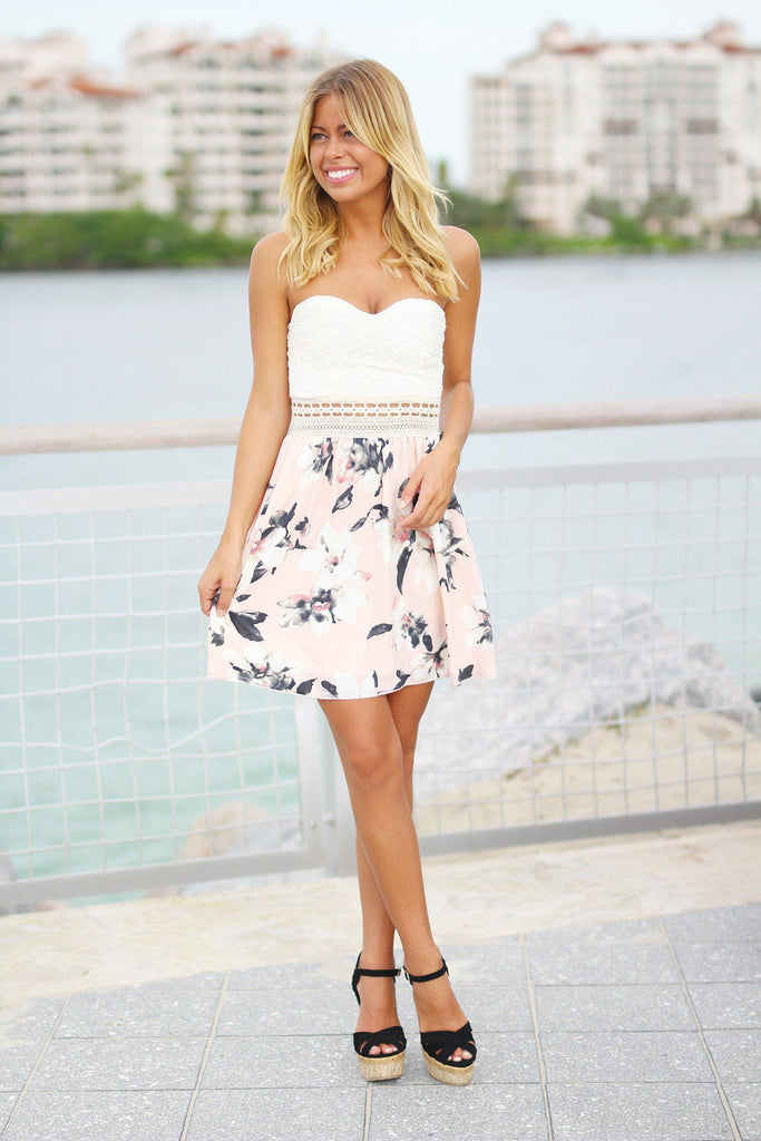 Cream Lace Floral Strapless Dress