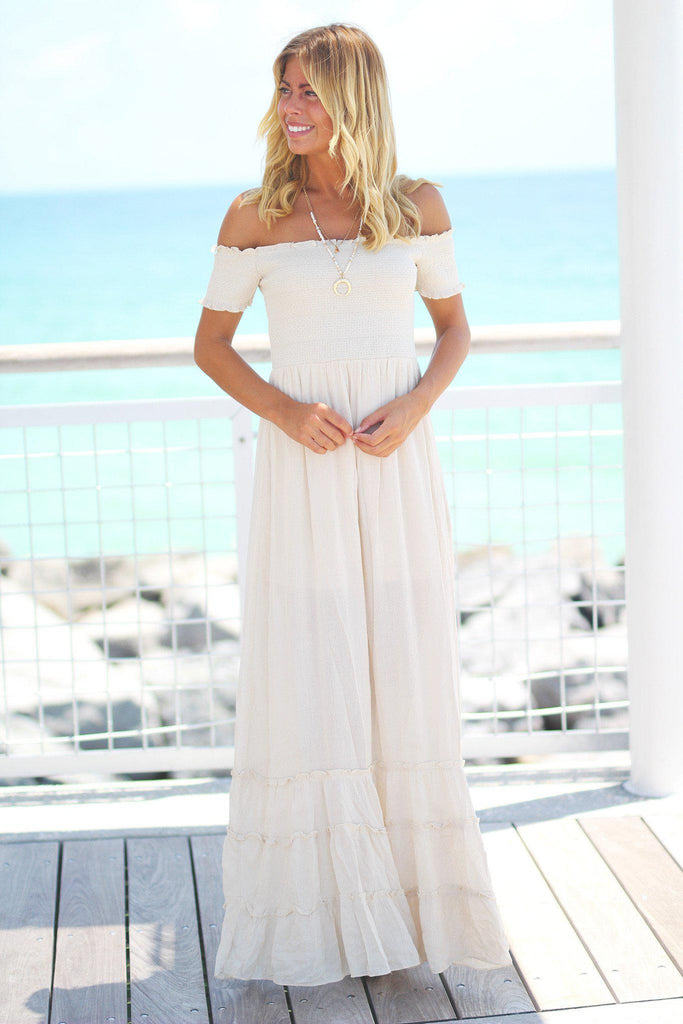 natural off shoulder long dress
