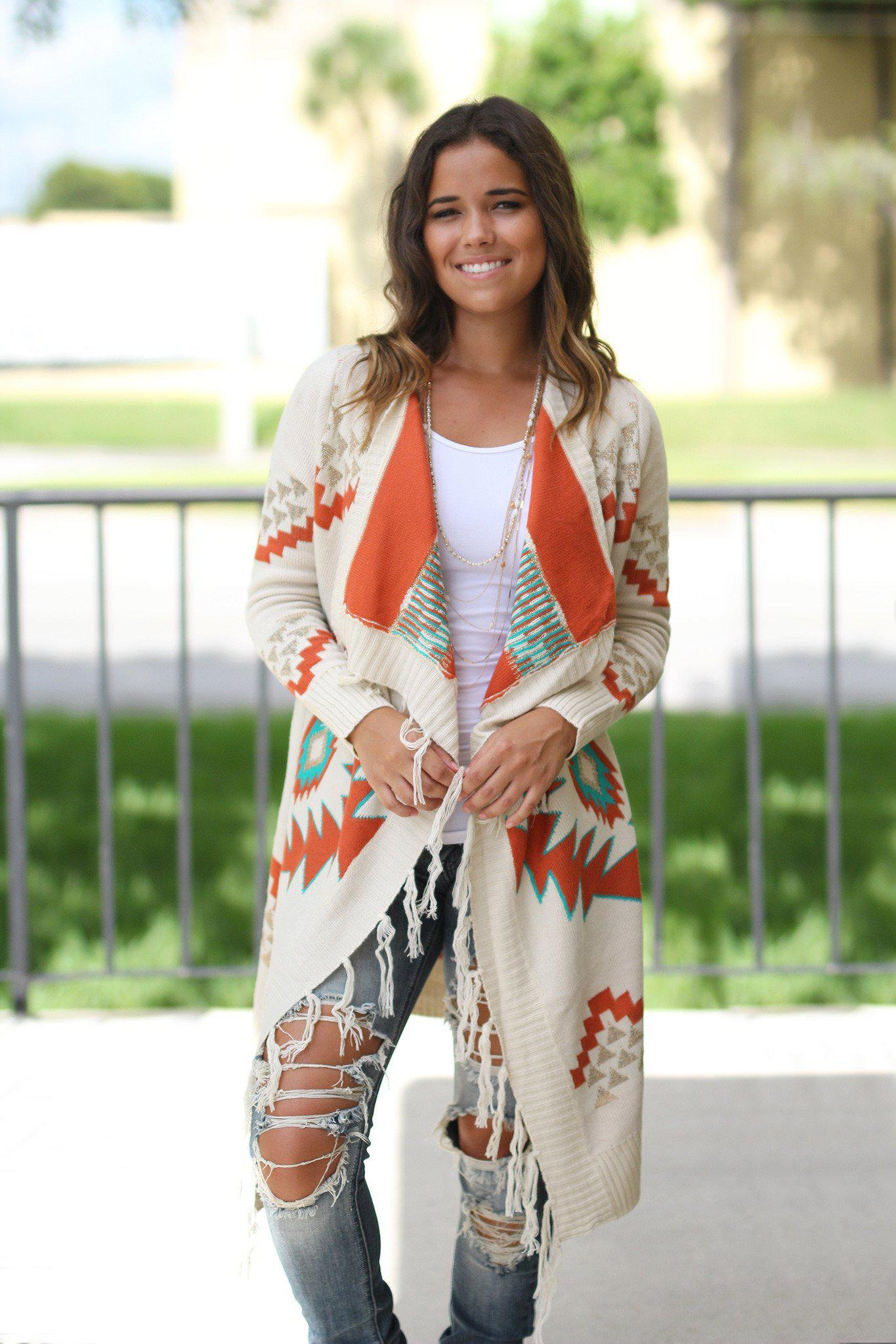 Ivory Aztec Cardigan with fringe