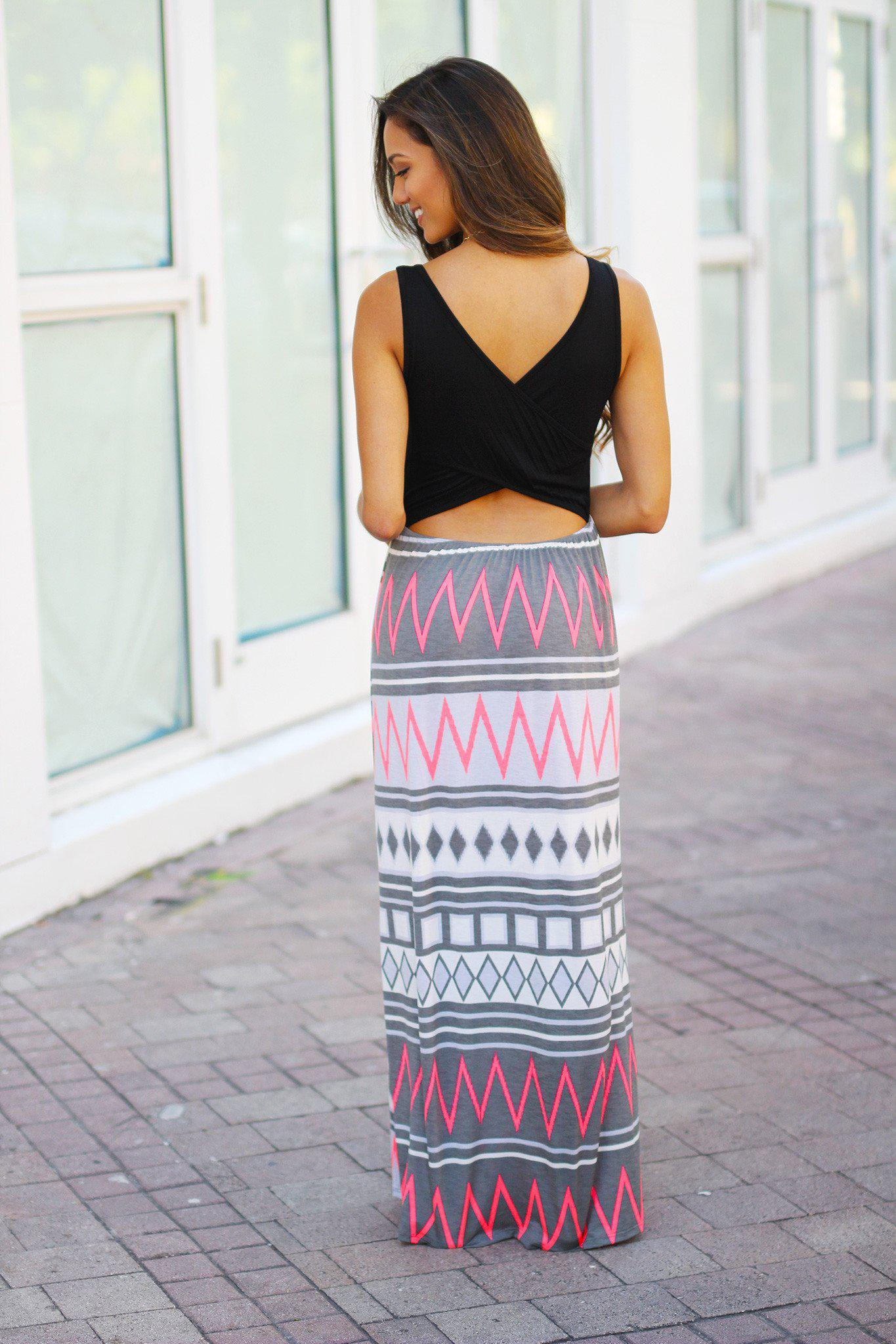 Black And Gray Maxi Dress With Criss Cross Back