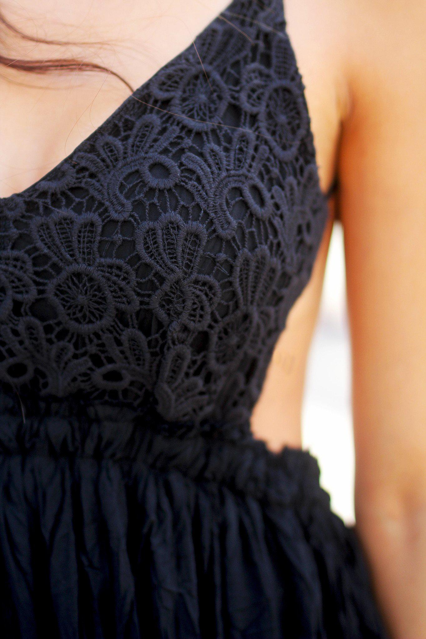 Black Lace Maxi Dress with Open Back