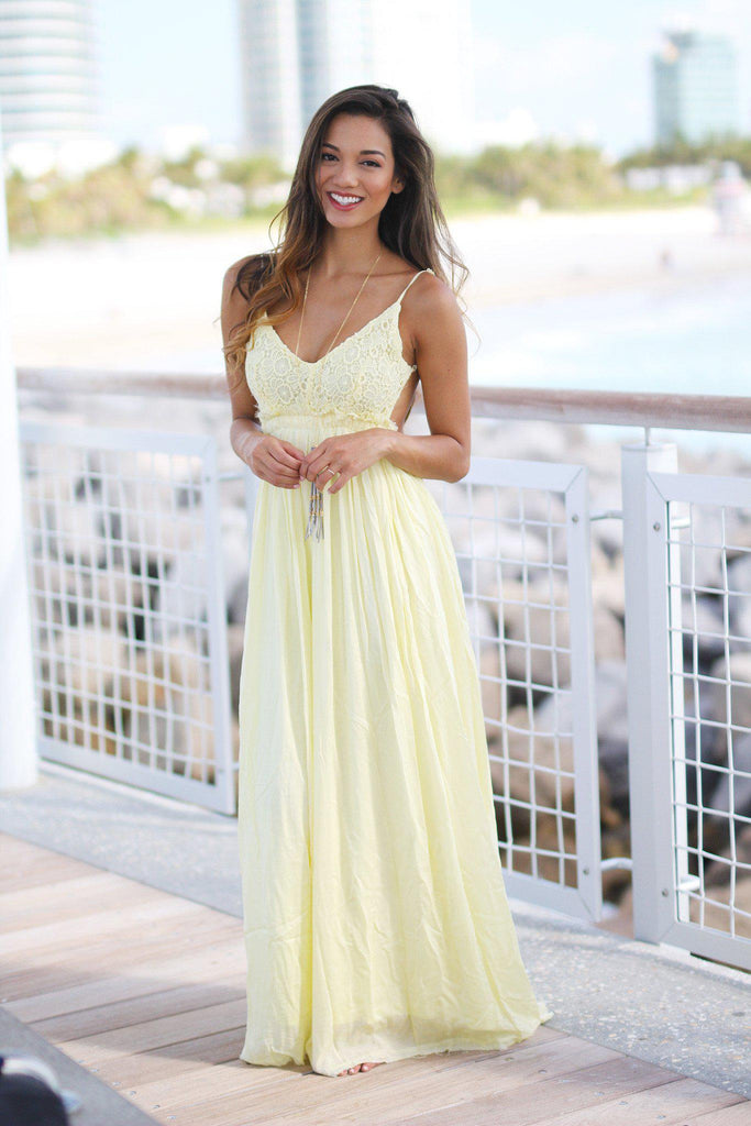 yellow special occasion maxi dress