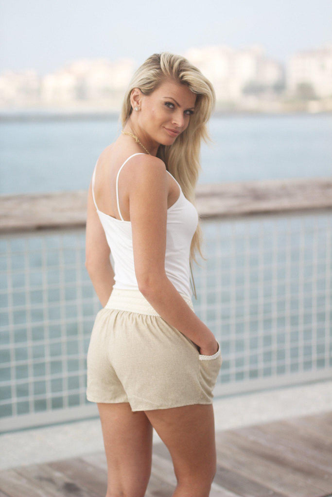 taupe sporty shorts