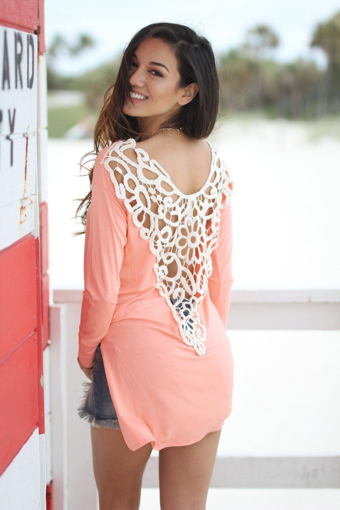 peach top with crochet back