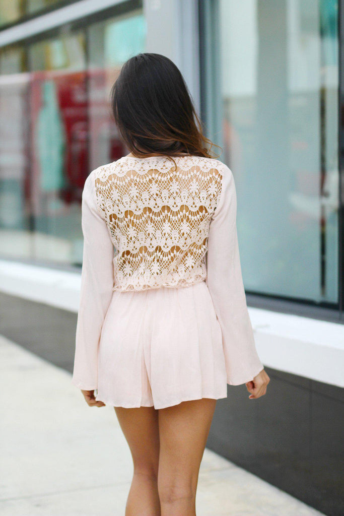 blush crochet back romper