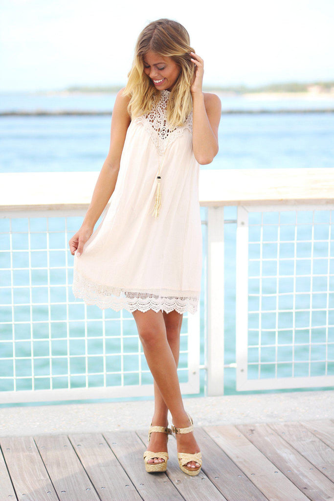 crochet natural short dress