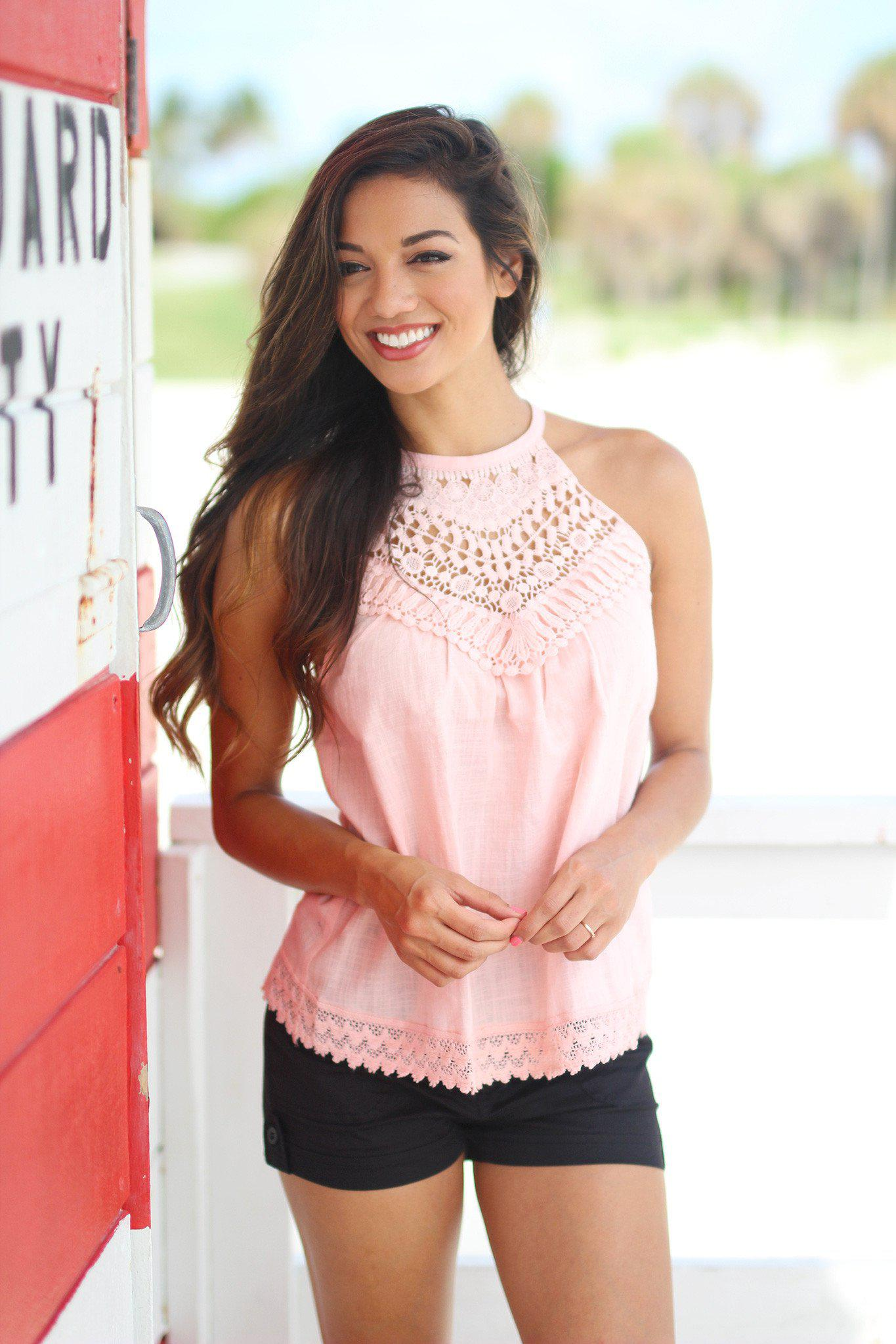 Pink Top with Crochet Detail