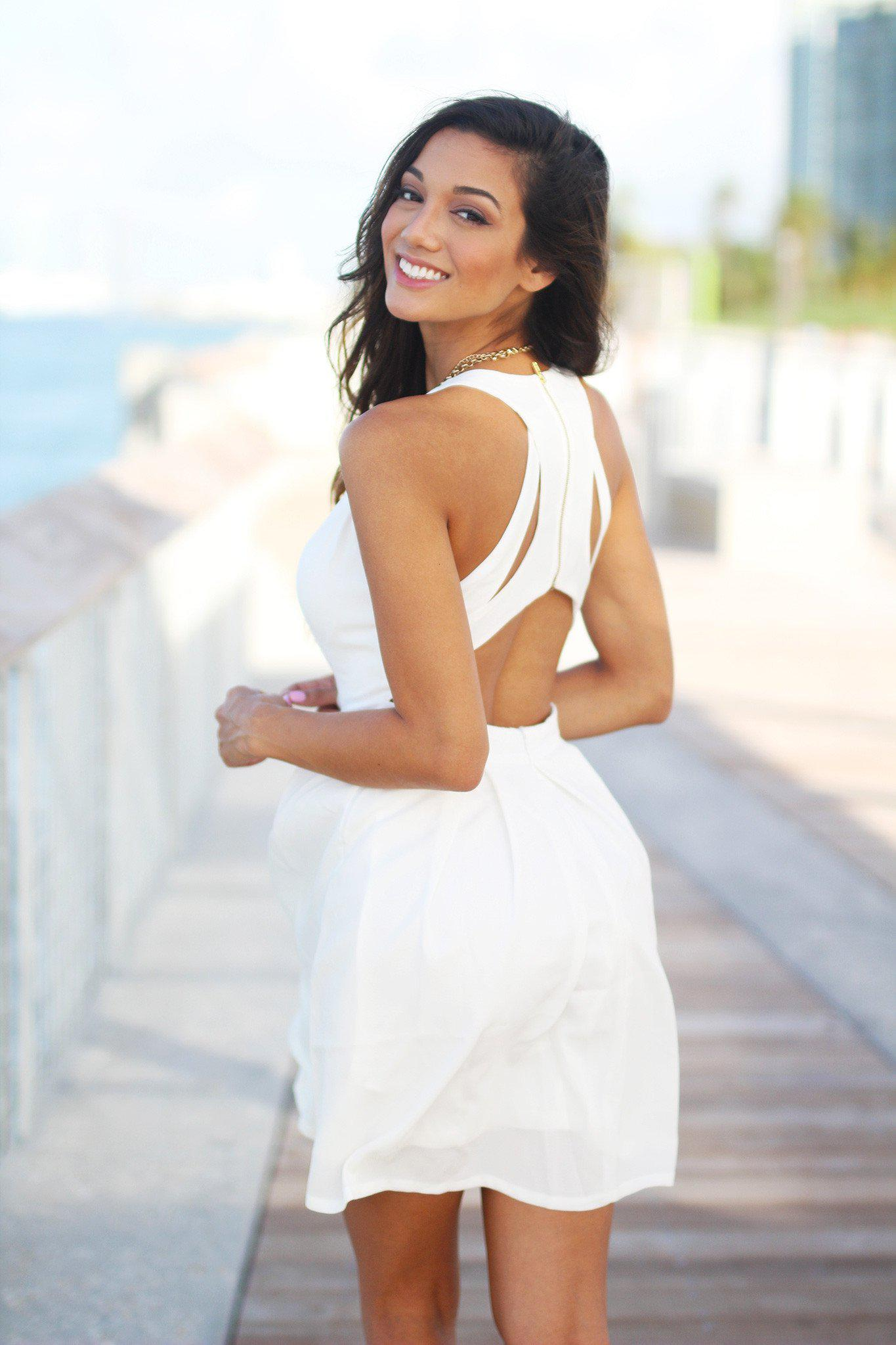 Off White Short Dress with Open Back