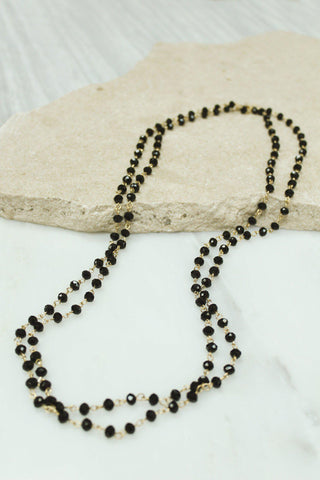 Layered Black Glass Beaded Necklace