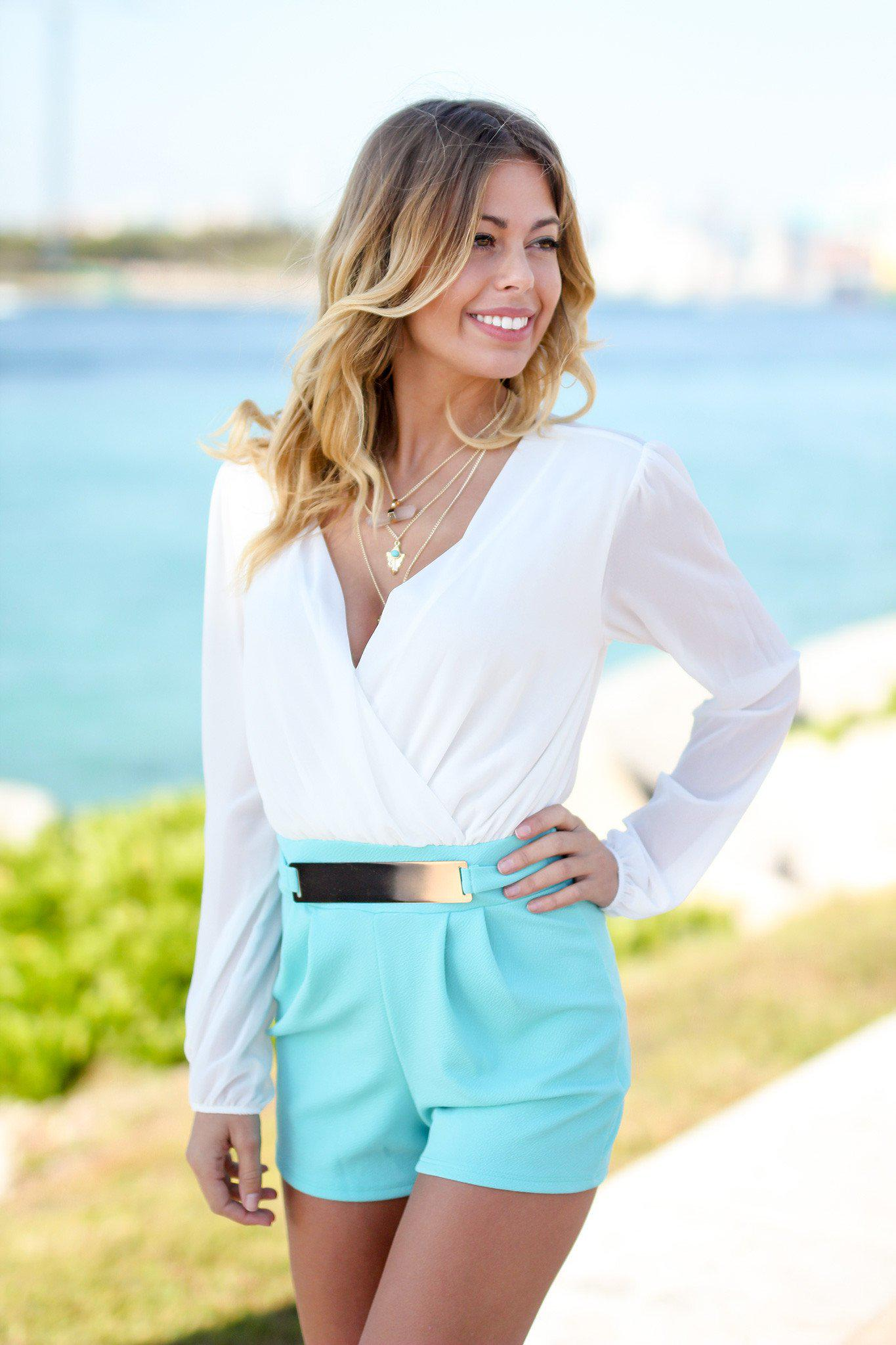 b52b005bb ... White Romper with Belt | Online Boutiques. cute rompers; women's rompers  ...