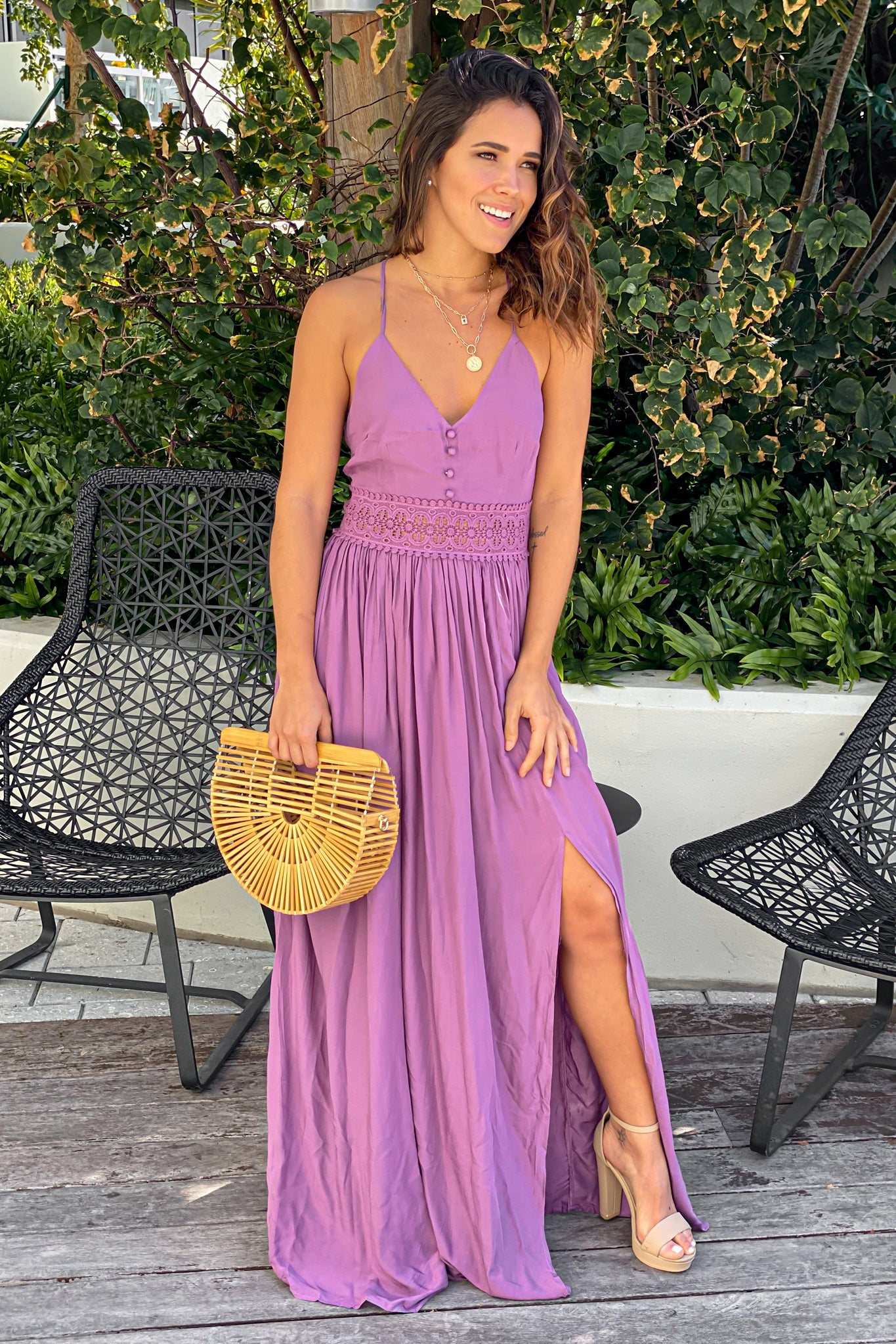 dark berry casual maxi dress