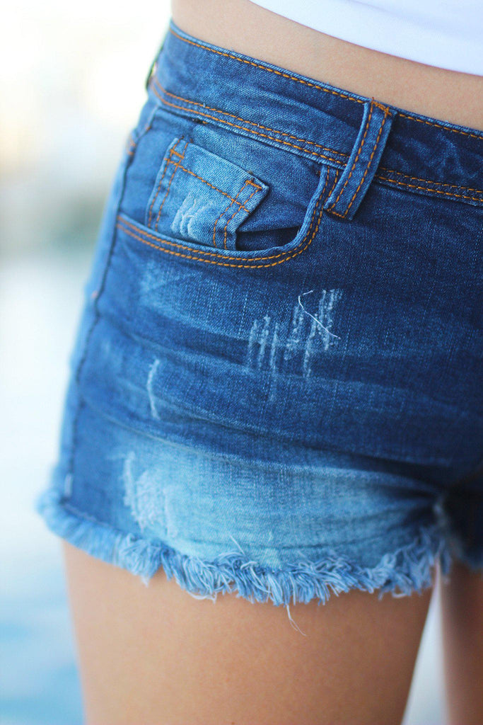 distressed casual shorts