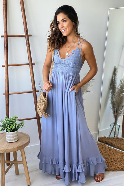 Dusty Blue Lace Top Maxi Dress