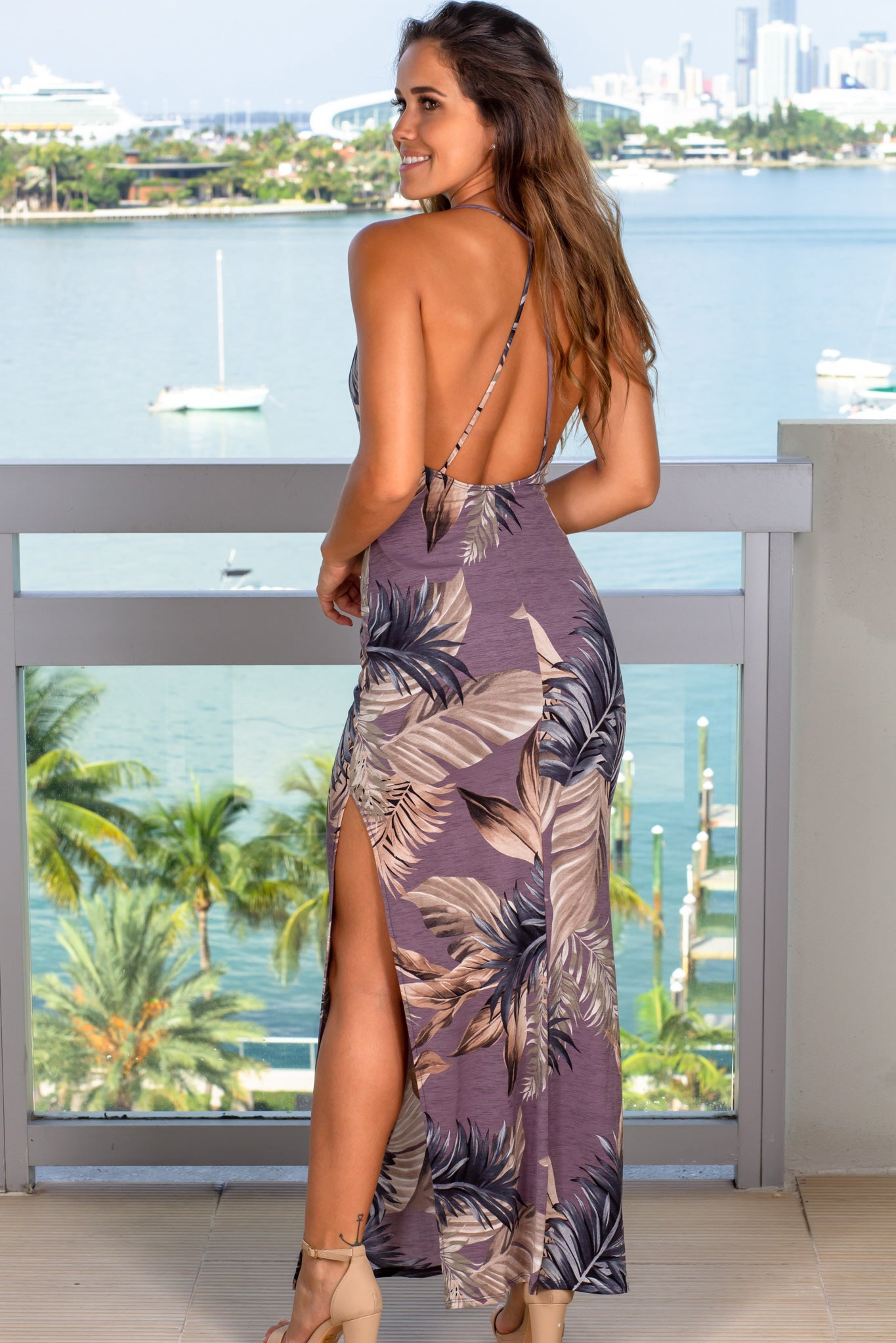 dusty lavender cute maxi dress