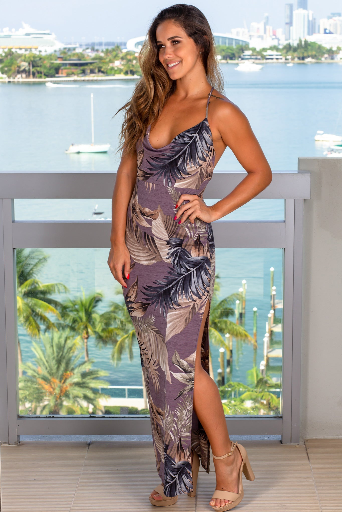 dusty lavender tropical maxi dress