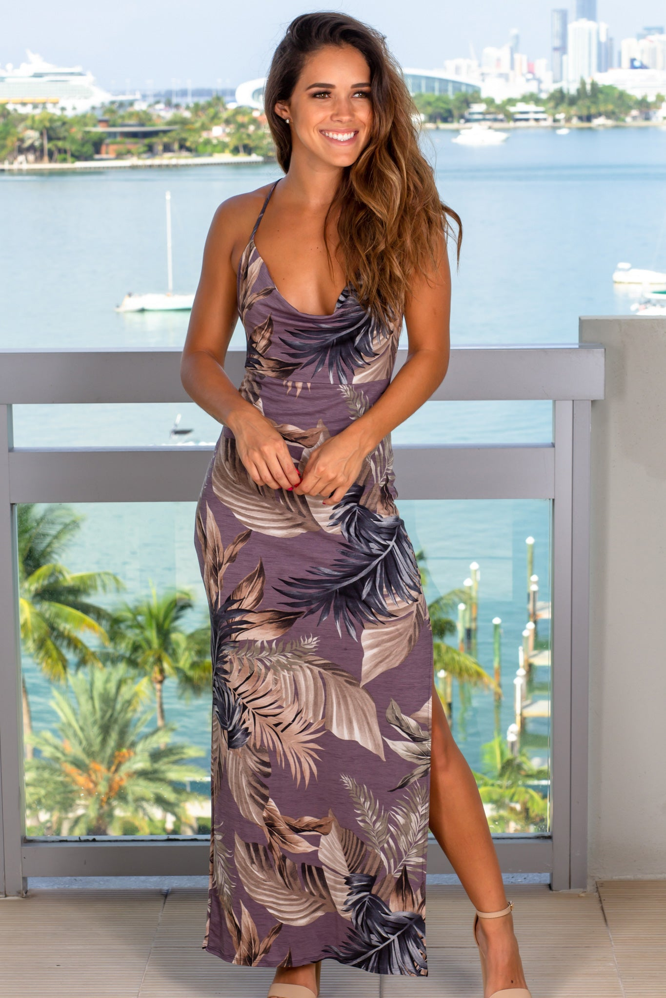 dusty lavender tropical vacation dress