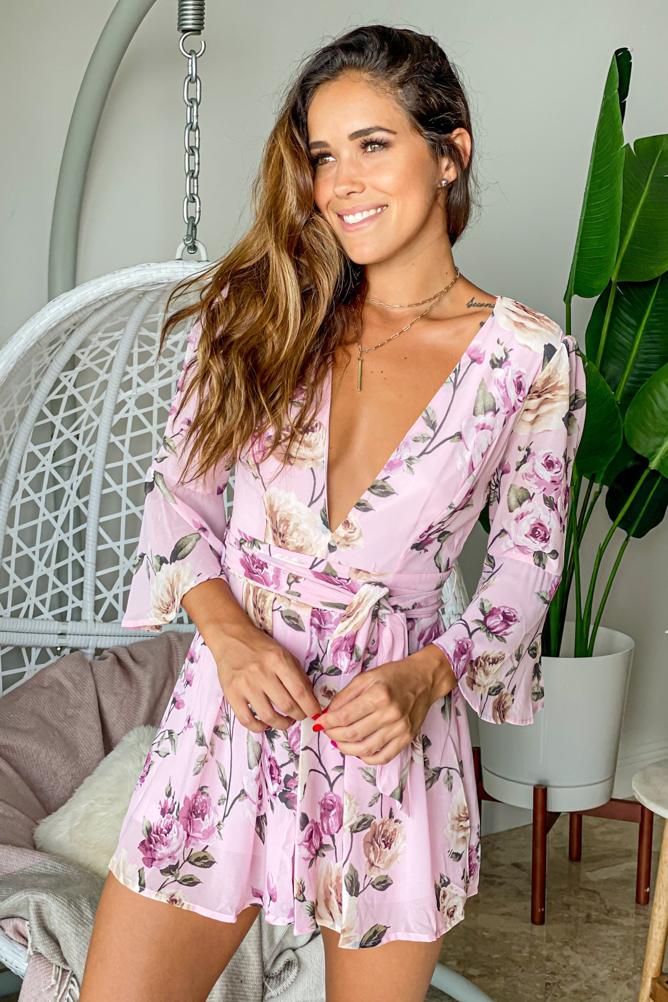 dusty pink floral cute romper