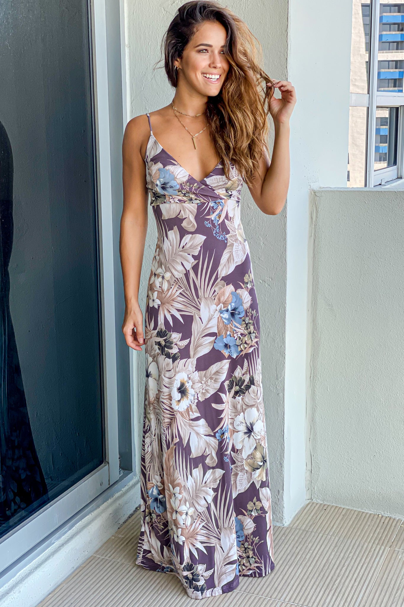 dusty plum floral maxi dress