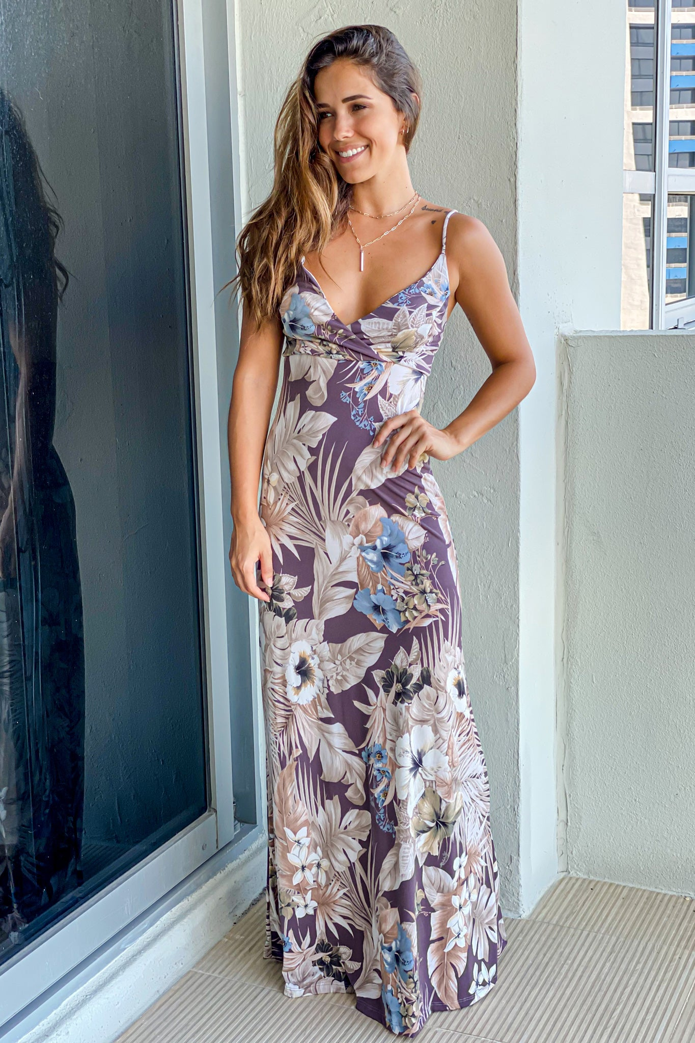 dusty plum floral vacation dress