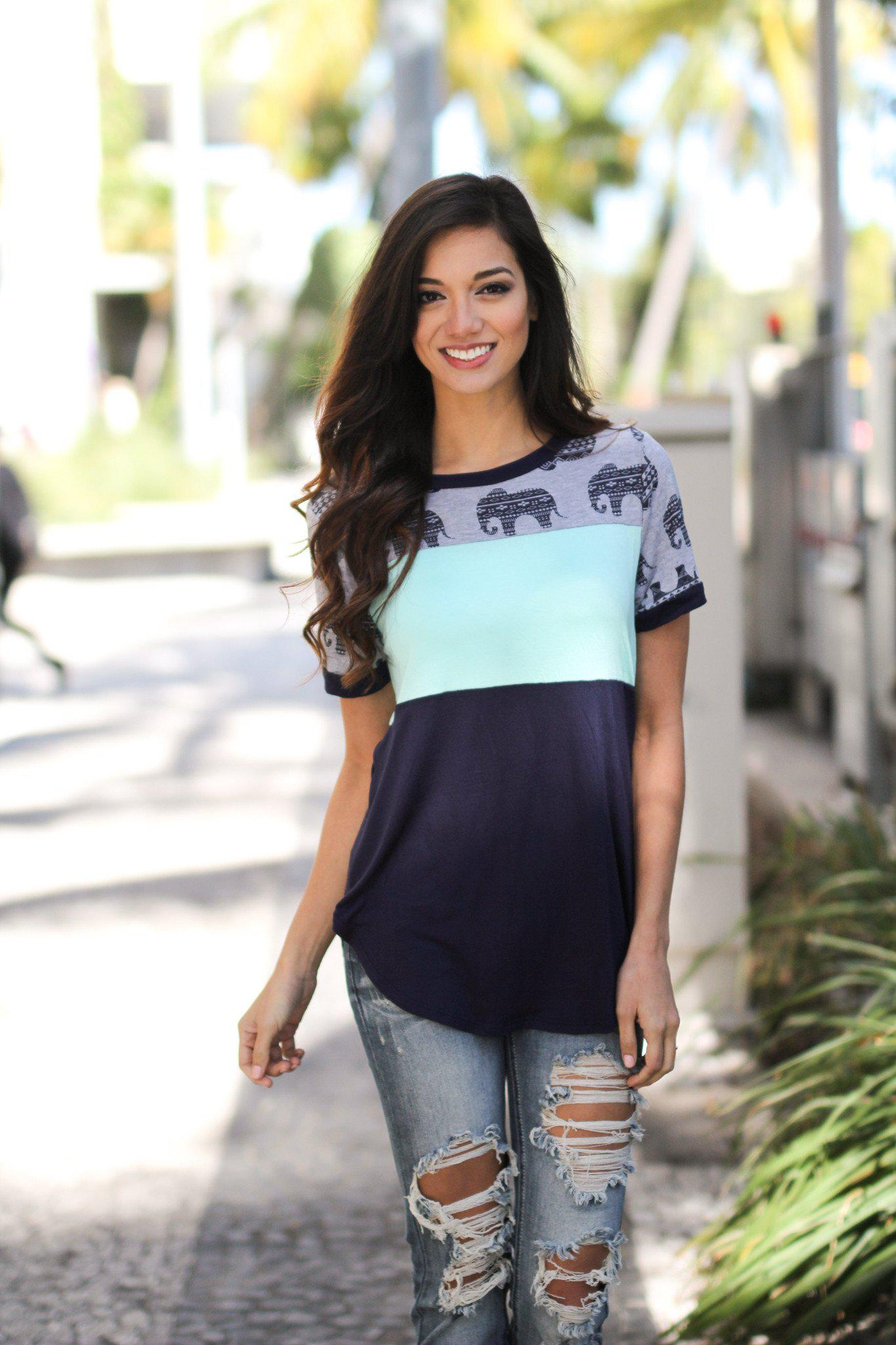 Navy and Mint Color Block Top