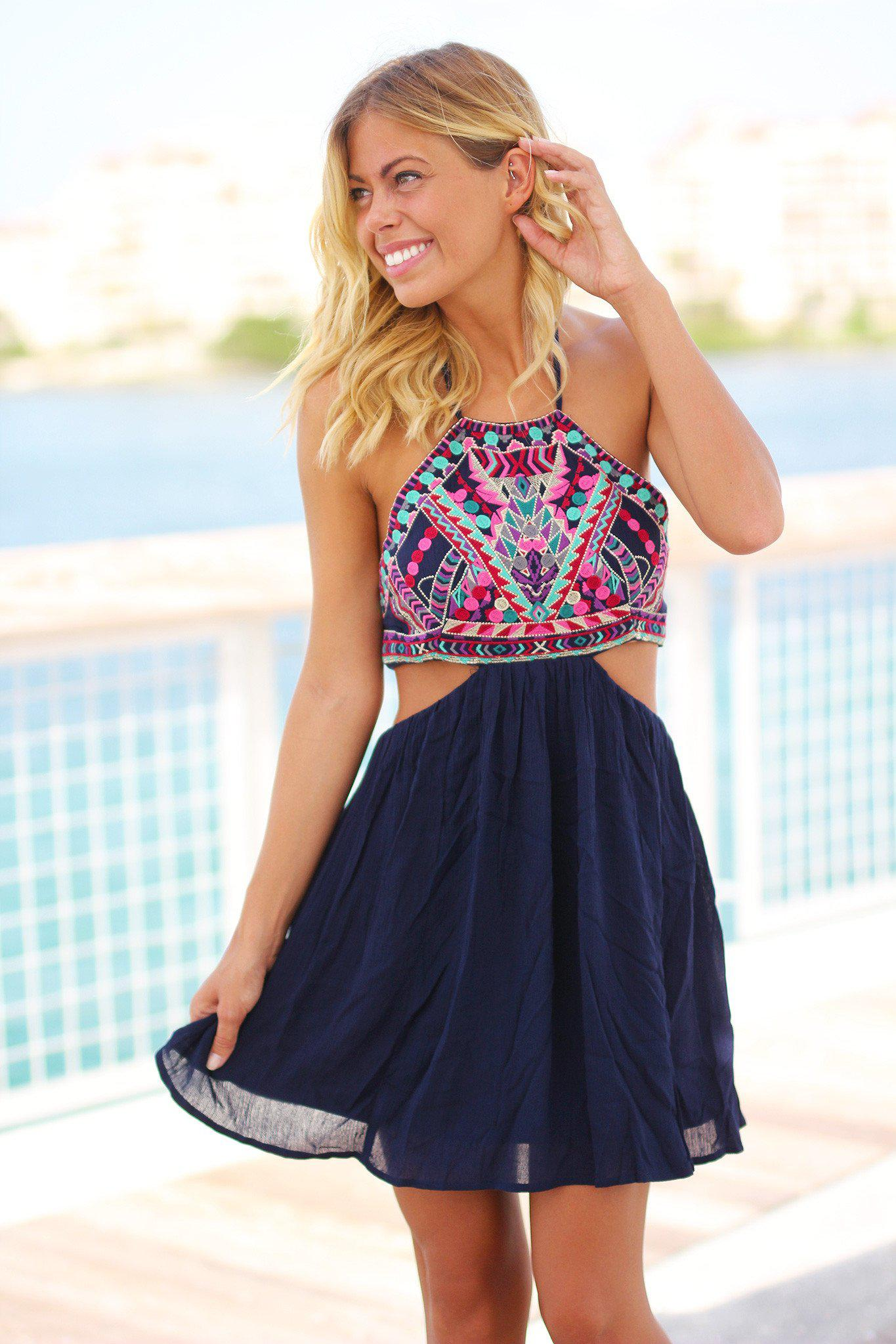 Navy Short Dress with Embroidered Top