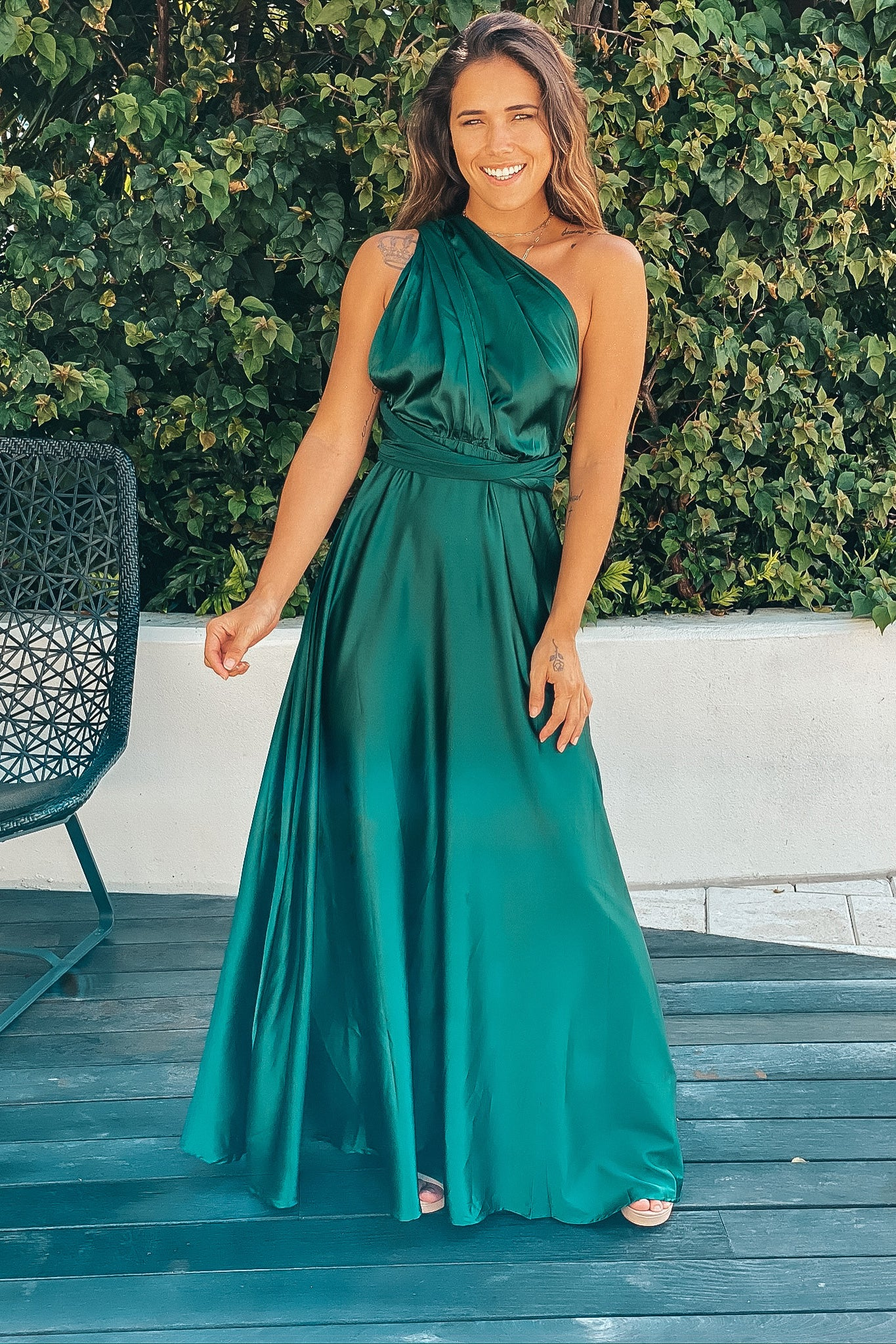 emerald sating multi tie maxi dress