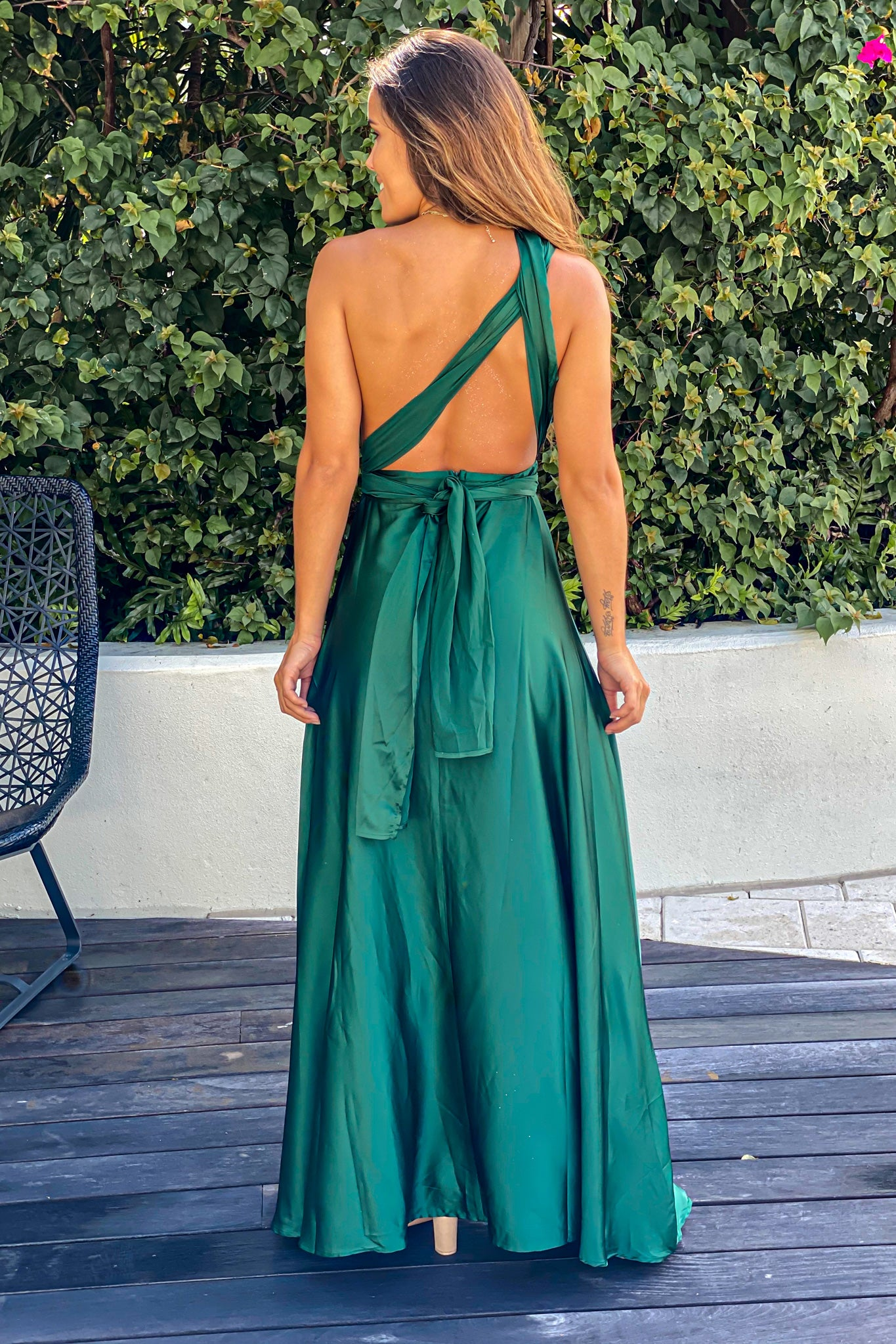 emerald graduation maxi dress
