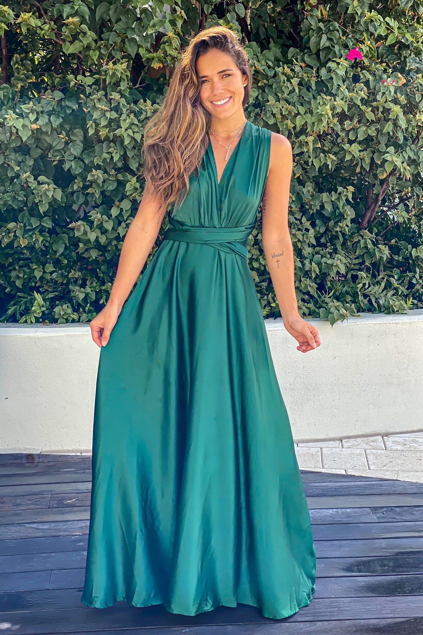emerald special occasion maxi dress