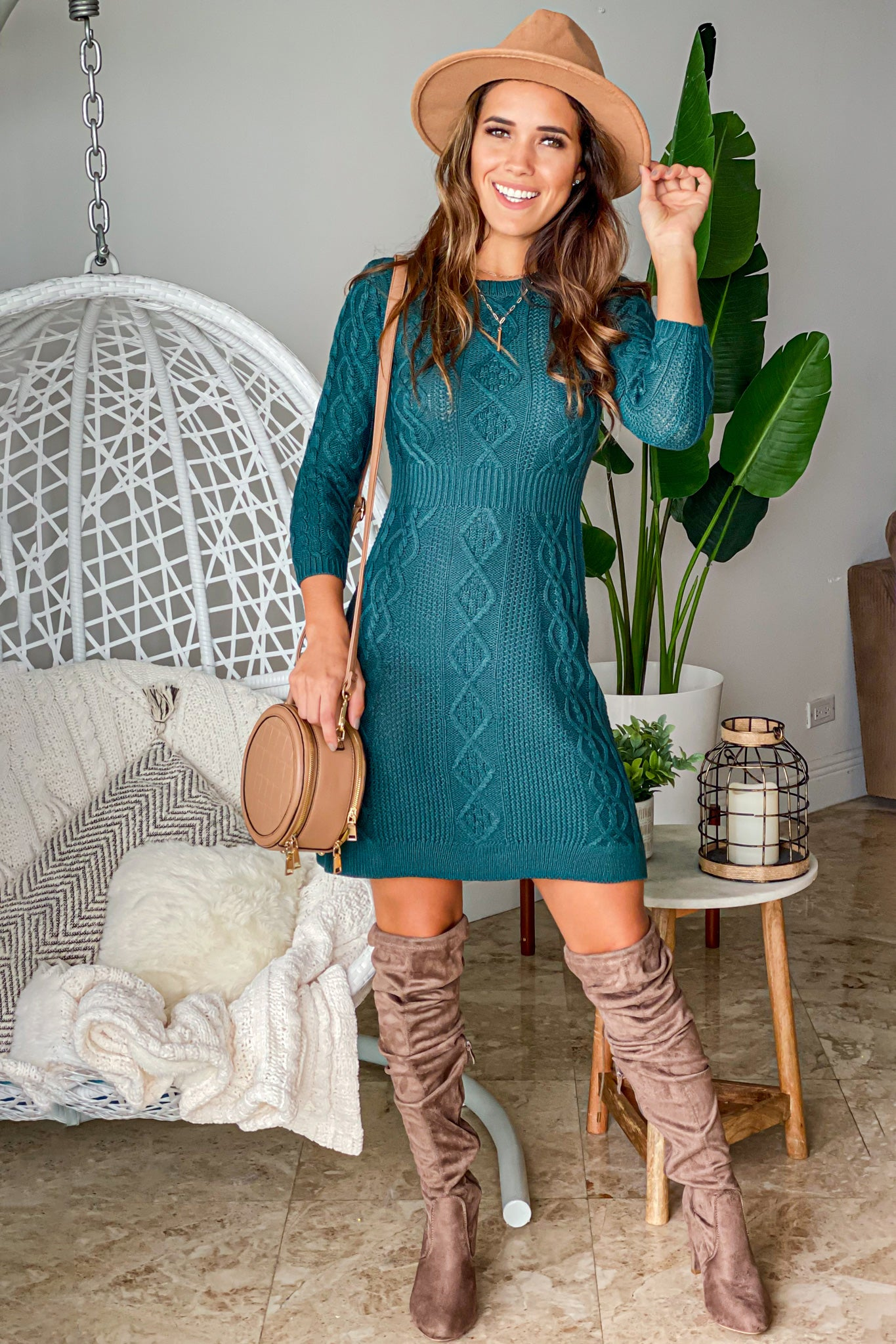 emerald sweater short dress