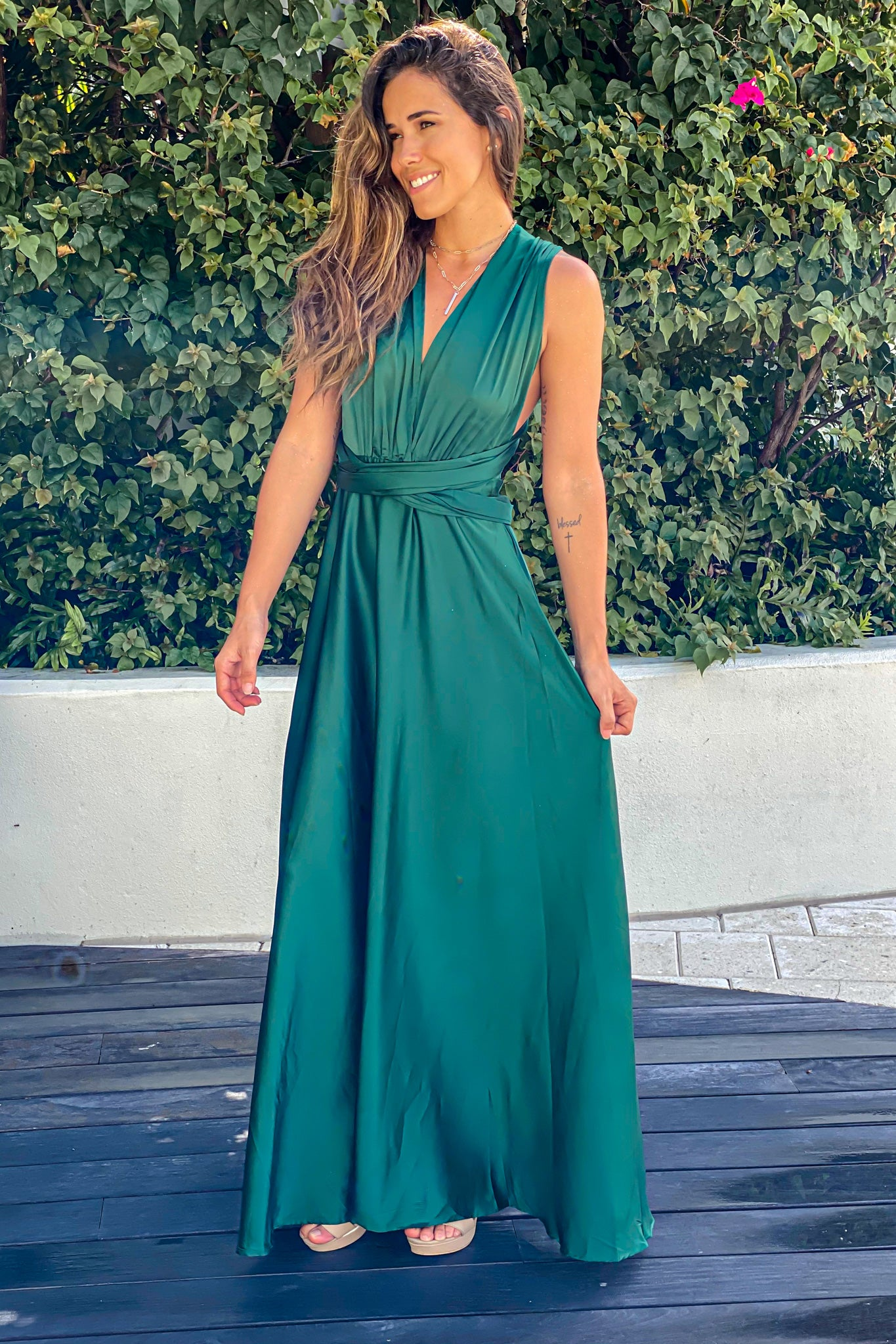 emerald wedding guest maxi dress