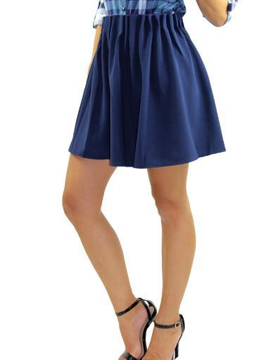 Solid Navy Flared Skirt