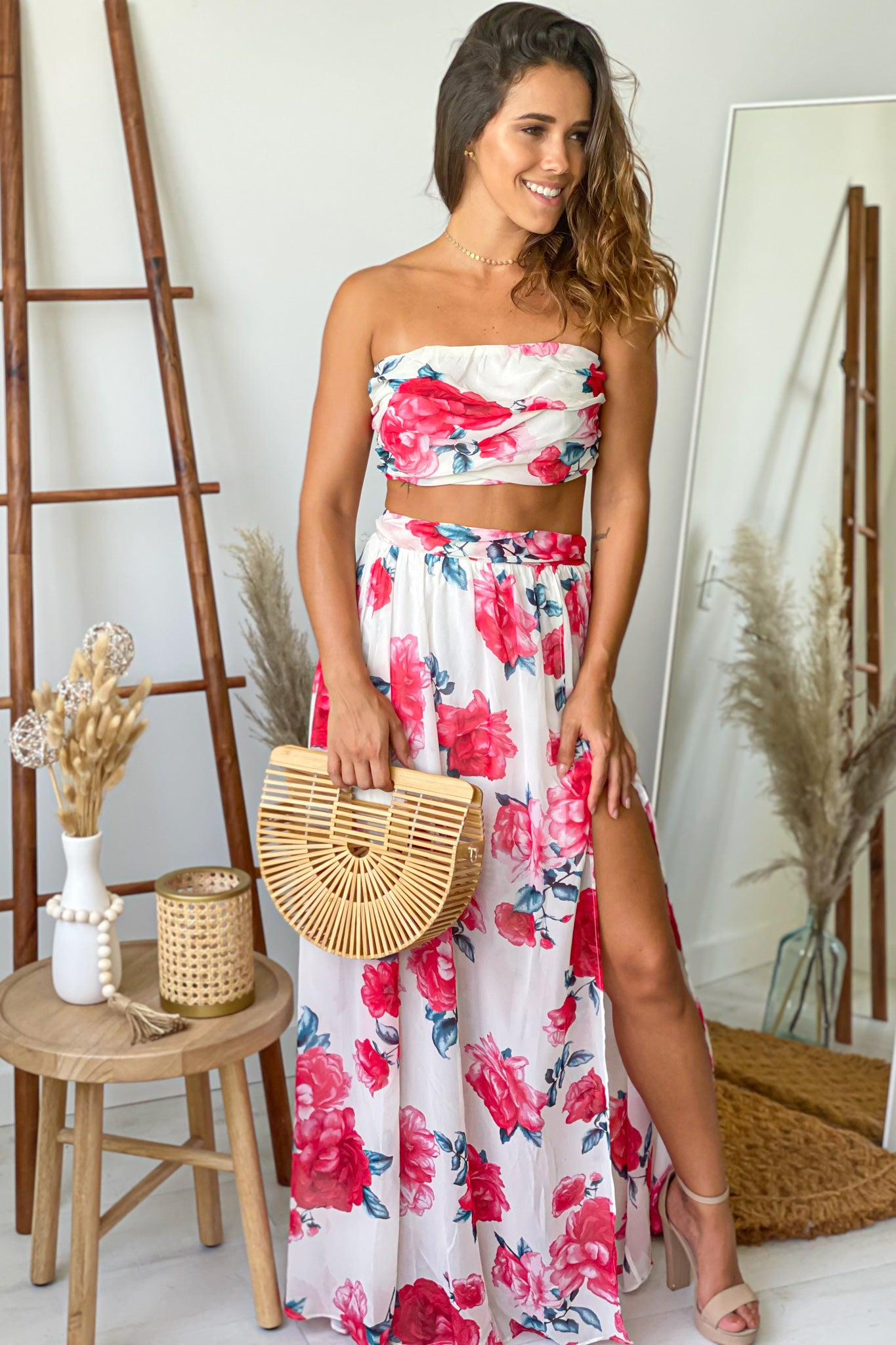 floral skirt and top vacation set