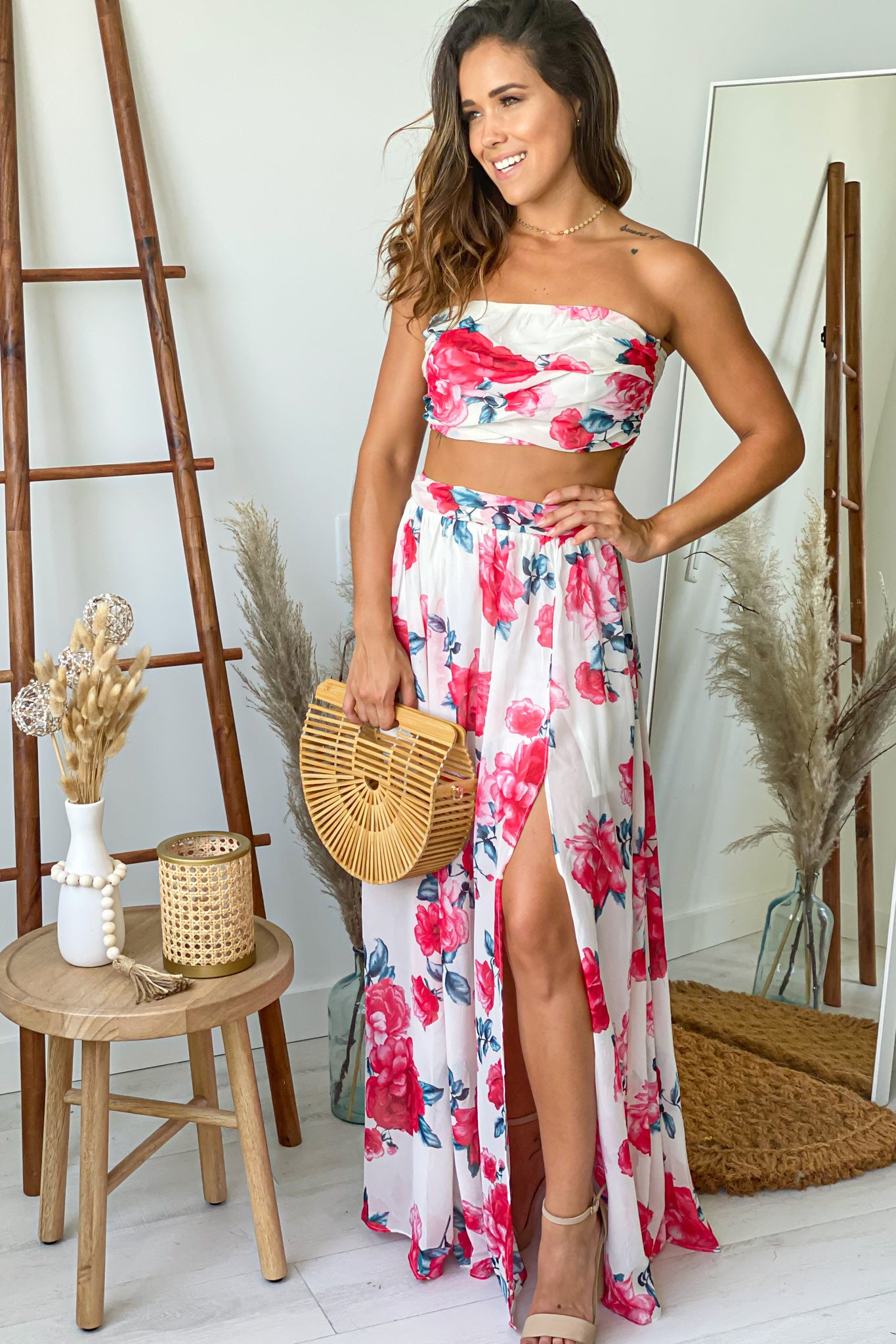 floral top and skirt summer set