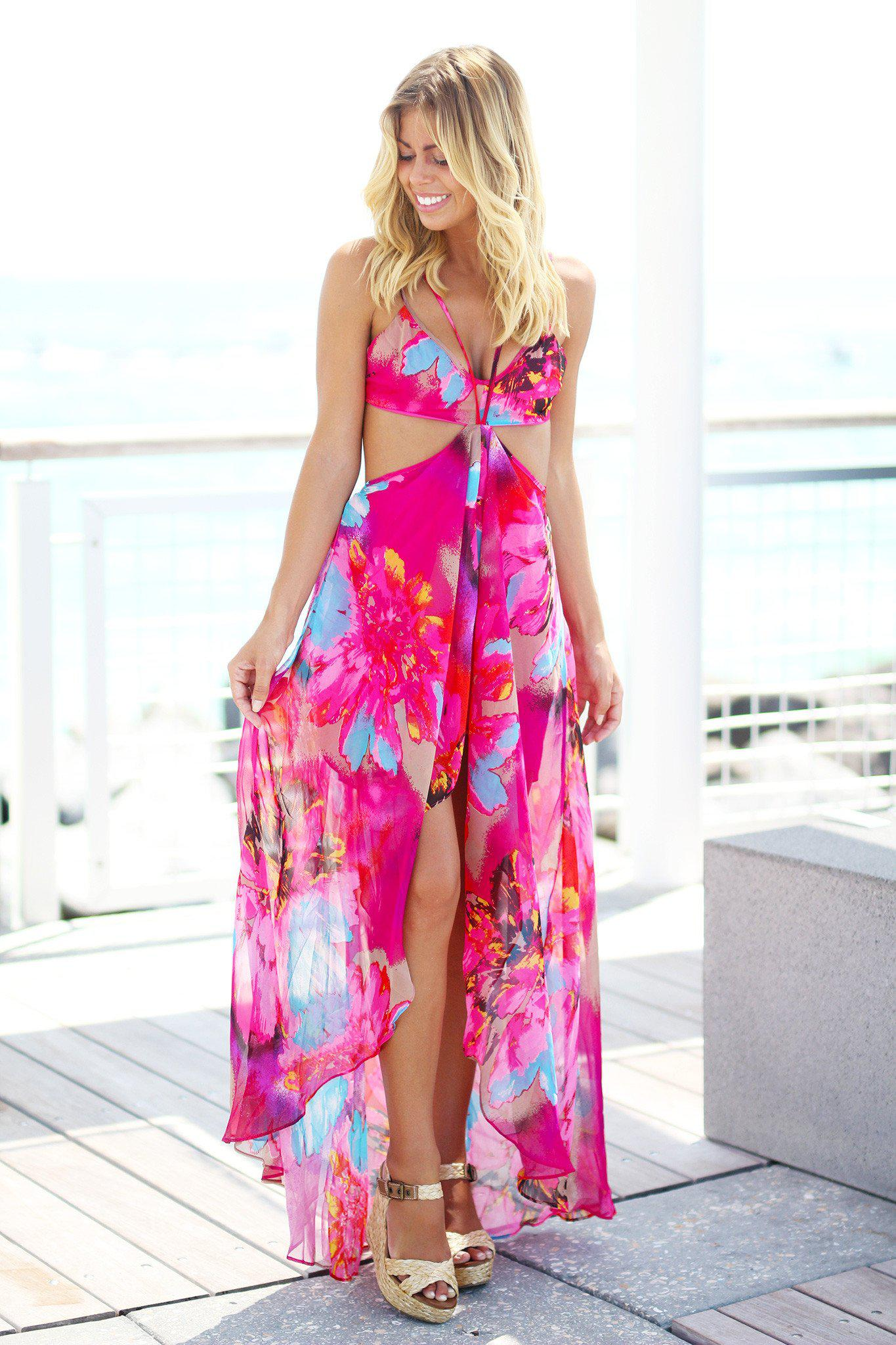 Fuchsia High Low Chiffon Maxi Dress