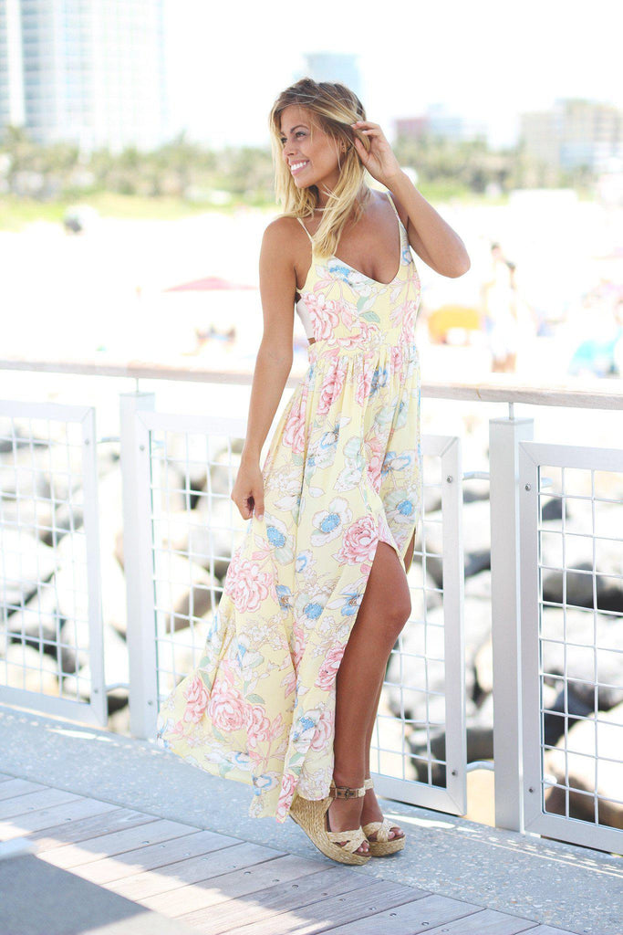 floral long dress with side slits