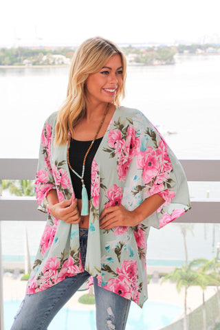 Mint and Pink Floral Kimono