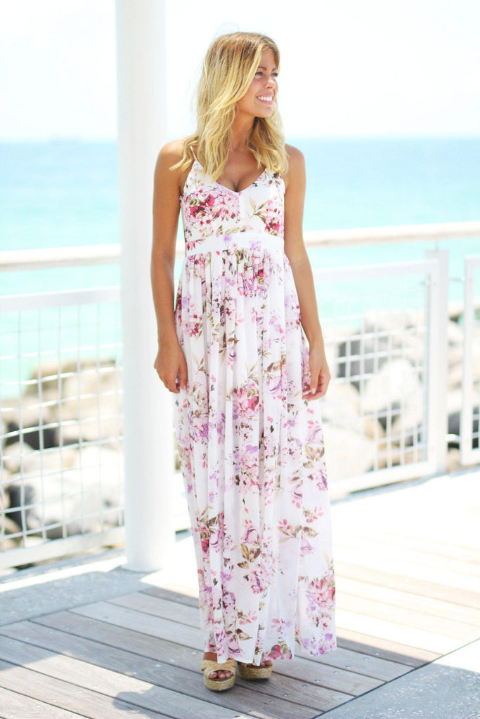 ivory floral long dress