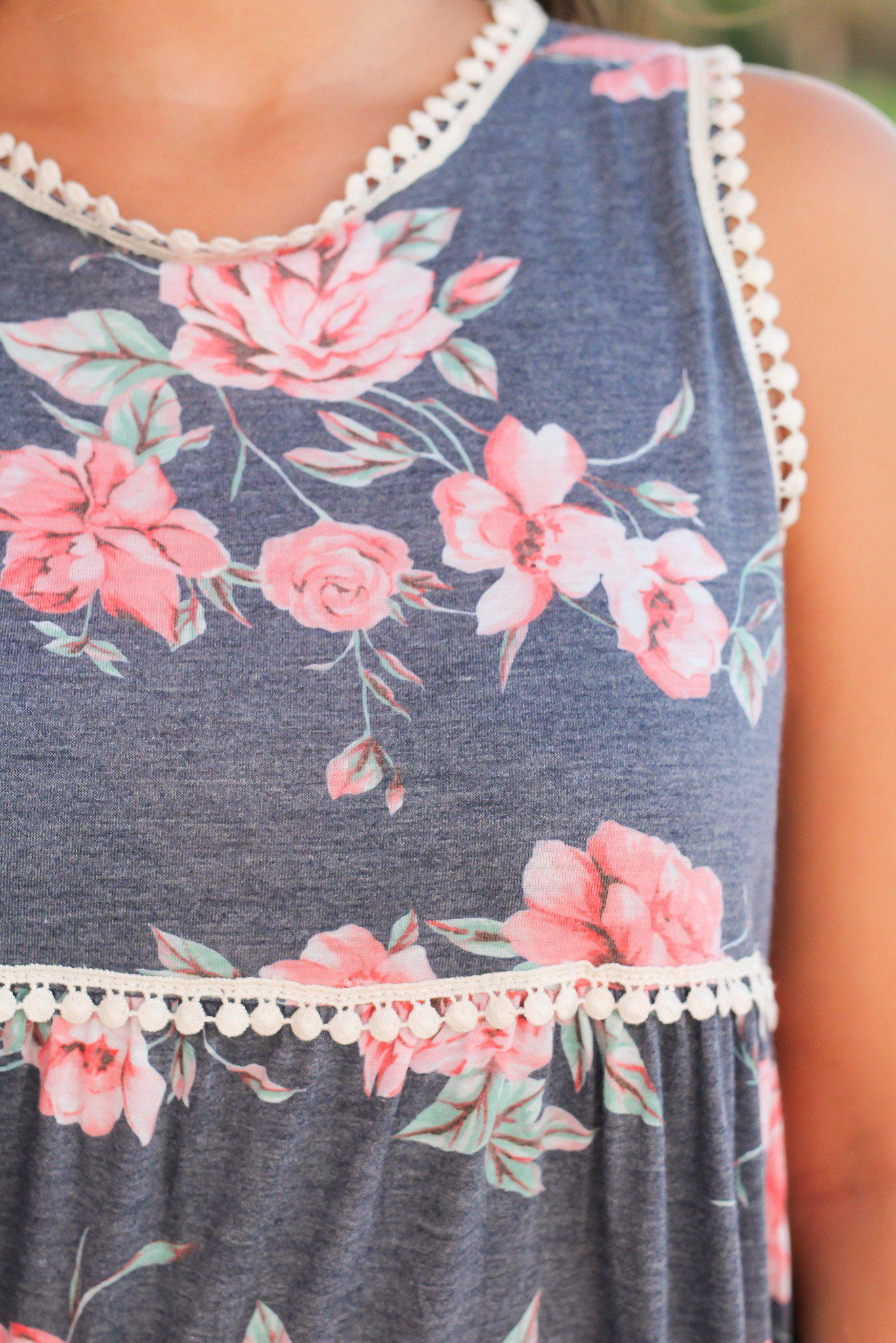 floral top with crochet trim