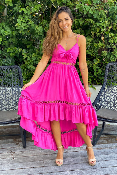 Fuchsia High Low Dress with Tie Front