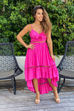 fuchsia high low vacation dress