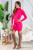 fuchsia short dress with long sleeves