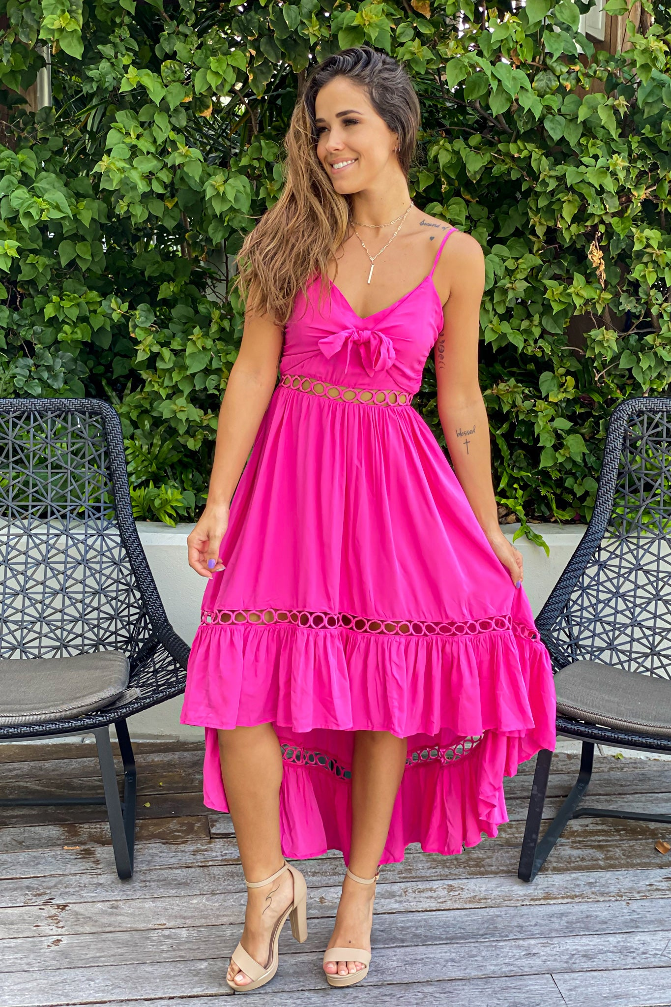fuchsia special occasion dress