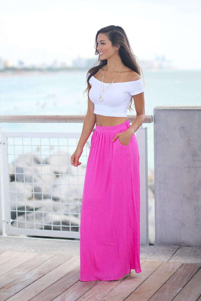 fuchsia maxi skirt with pockets