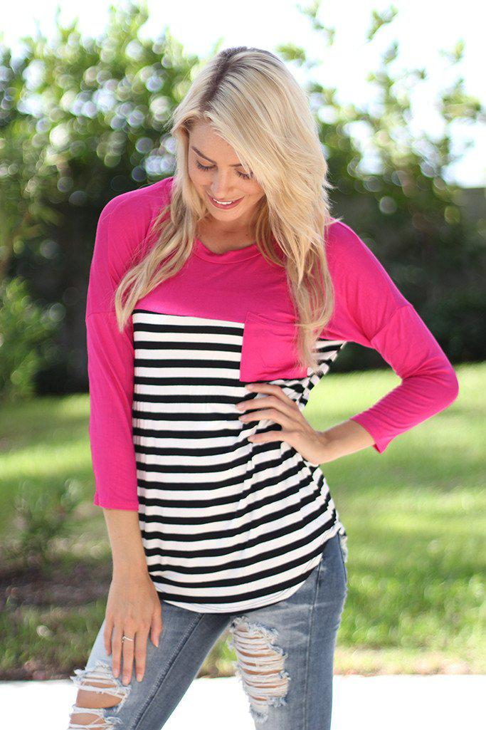 Fuchsia Striped Top