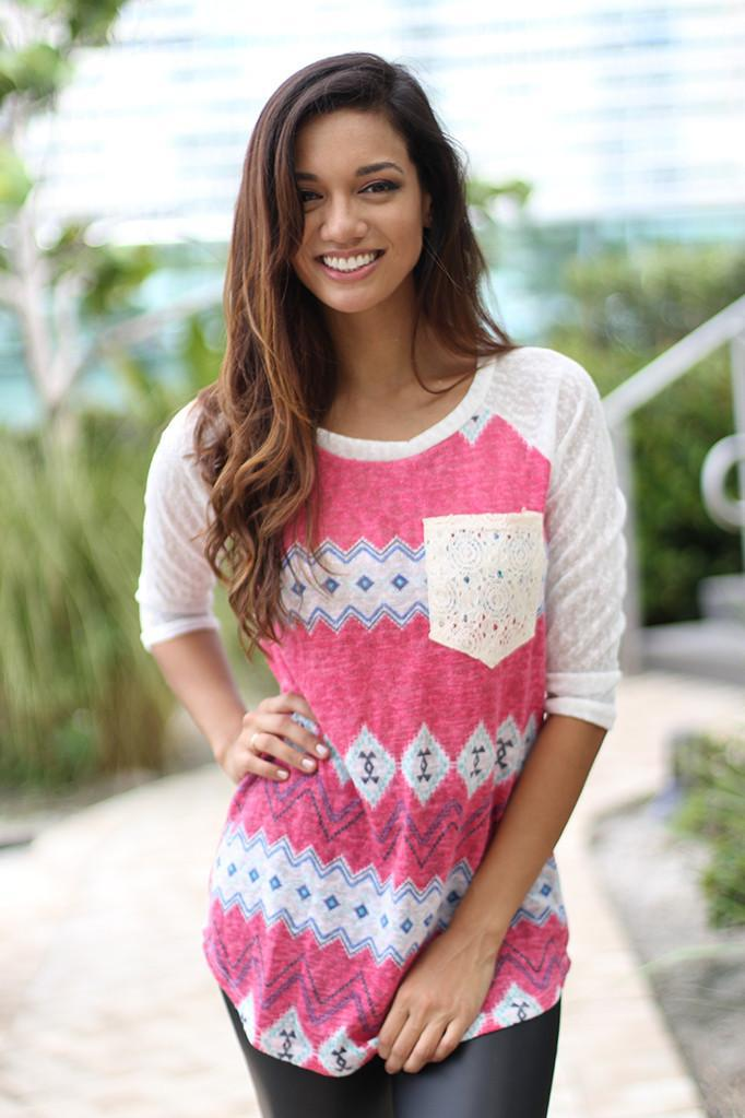 Fuchsia Top With Crochet Pocket