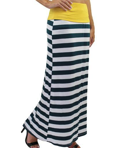 Striped Maxi Skirt / Dress - Green And White